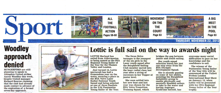 Lottie Harland in Newbury Weekly News November 22nd 2012