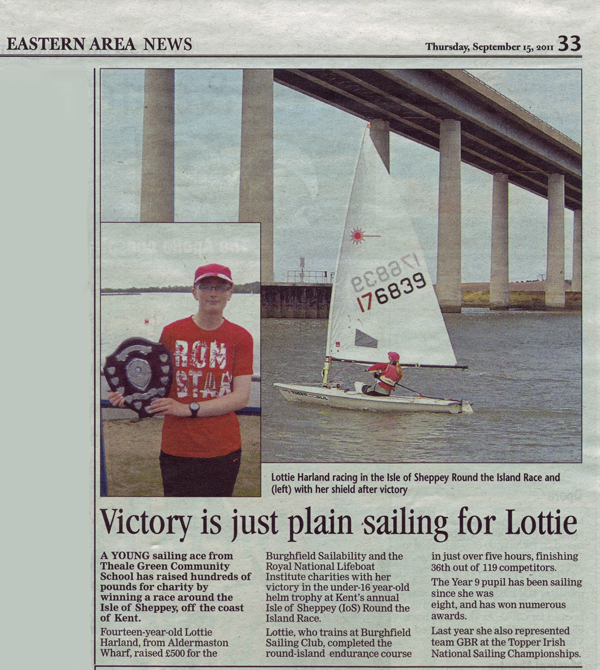 Lottie Harland in Newbury Weekly News September 15th 2011